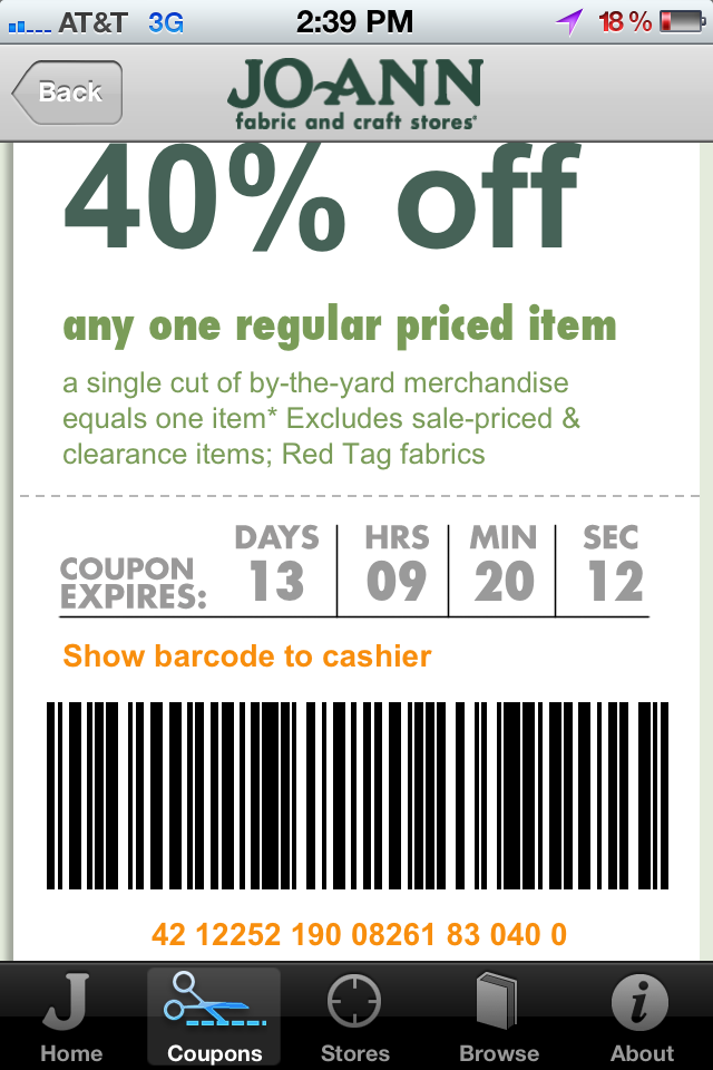 Joann fabrics store coupons printable