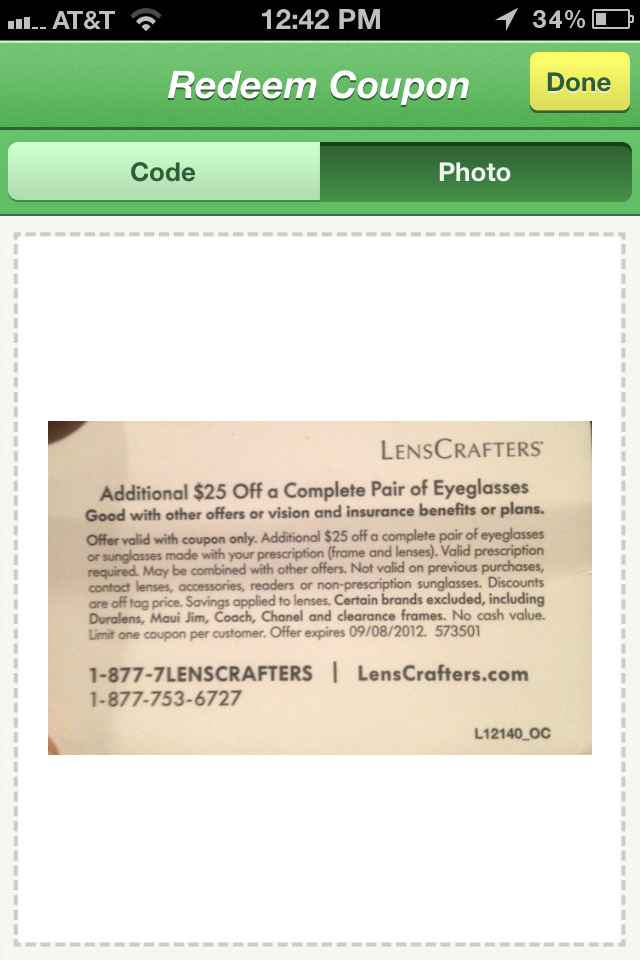 61a805a304 I snipped a 40% off coupon for prescription sunglasses. The coupon was a  photo advertisement with no code